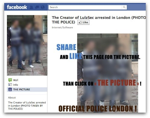 'The Creator of LulzSec arrested in London' scam spreading on Facebook  Via ZDNet!