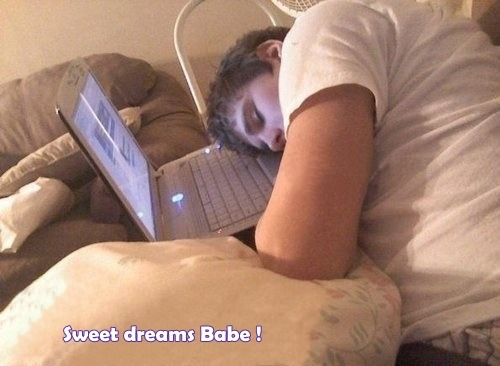 herebeliebers:   Justin Bieber  When our Babe is tired…♥ :) Dream as if you'll live forever, live as if you'll die today…♥
