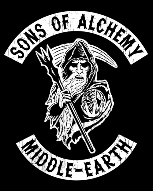 The television show Sons of Anarchy takes a trip to Middle-Earth in this Lord of the Rings redesign. Now available at RedBubble. You can also check out my other Tolkien inspired t-shirt designs here.