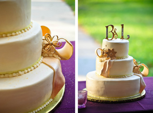 (via Lori & Robert's DIY Purple and Gold Wedding « Real Weddings « Bow Ties & Bliss | Daily Wedding Inspiration)