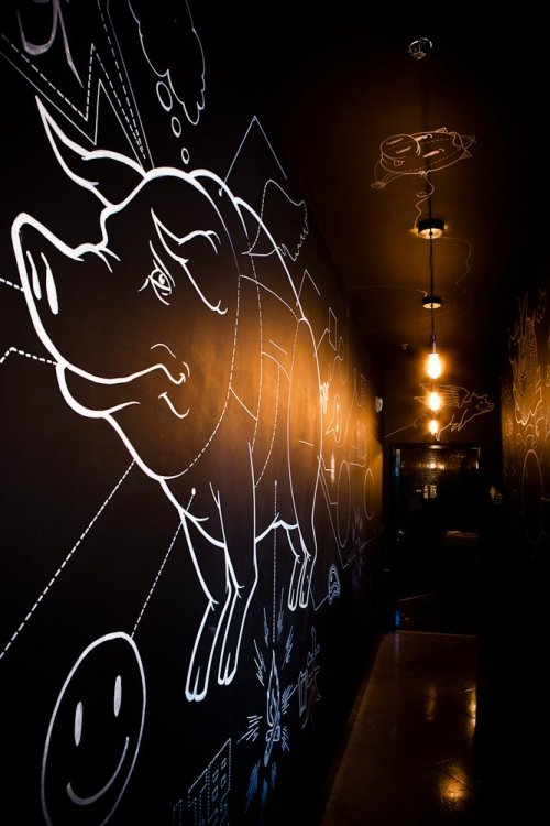 LBDS current project: Flying Pig Cafe interactive chalkboard hallway / artwork by Stu Stark