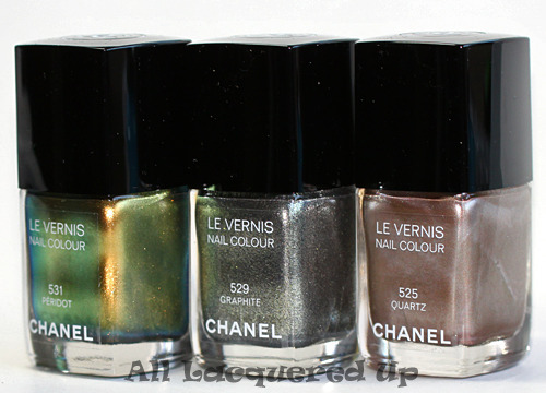 Chanel Illusions d'Ombre de Chanel Fall 2011 nail polishes: Chanel Peridot, Chanel Graphite, Chanel Quartz More images and nail wheel swatches here: Chanel Fall 2011 Nail Polish Preview