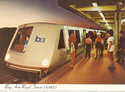 Whoa! Bart throwback BART postcard circa early 1970s by Tom Tracy
