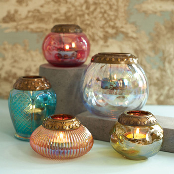 ilovemyapartment:  Set of 5 Iridescent Tea light CandleHolders with Metal Rim -$ 90.00