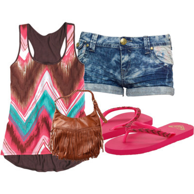 summer by what3sarah3said featuring leather handbagsPrinted tank top$30 - delias.comDenim shorts£16 - desireclothing.co.ukRoxy beaded shoes$22 - zappos.comH M leather handbag£9.99 - hm.com