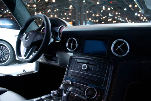 A picture my friend was able to snag of the inside of a benz SLS AMG when none of the show floor security looking.