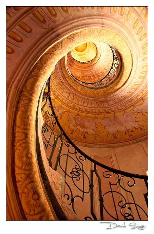 A spiral stairway in an abbey in Melk, Austria