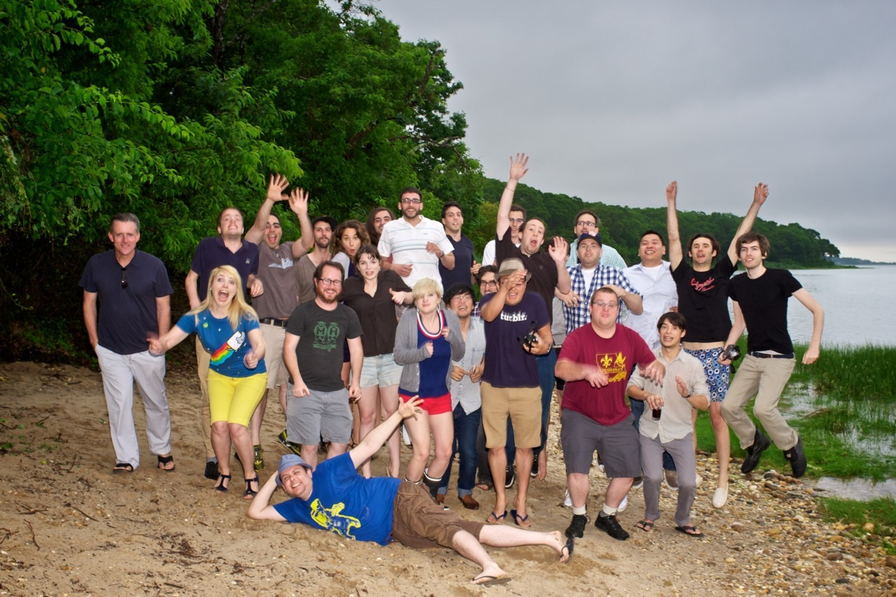 tylr:  tylr:  everybody jump drunk.  Here's a picture of the Tumblr team I took Summer of 2011. Congrats.  Front row left, directly above topherchris. A lot has happened between then and now, but I'll always have fond memories of this trip. Congrats to the team.