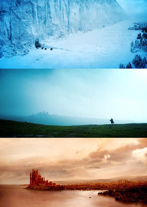 Tri-colored Westeros Blue: The Wall, guards the Seven Kingdoms Green: Winterfell, seat of House Stark Red: King's Landing, Capital of the Seven Kingdoms