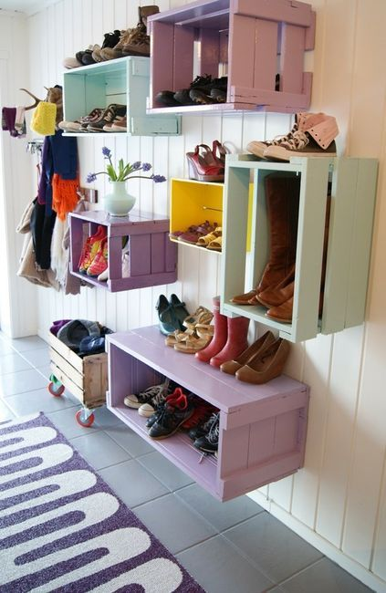 super lovely shelves made out of wood crates. love the colours! splitimpulse:  I want to make these for my room but I don't think they would fit well