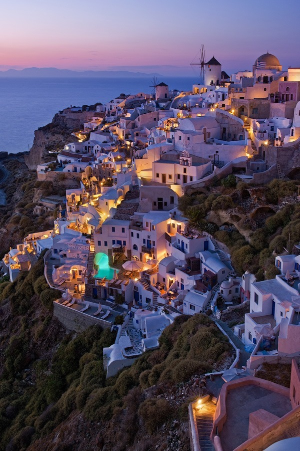Beautiful calm evening, in Oia, Santorini.