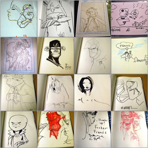 My Sketch Collection 2006 til now. From the 7 years of SDCC (and counting), the countless art shows, gigs, run-ins, homies, etc. Thought I'd share this. Artists Include: Mike Mignola, EWOK 5MH, Tara McPherson, David Choe, Jesse Hernandez, Angry Woebots, Stan Sakai, Alex Pardee, Buff Monster, Sam Flores, Jeremy Fish, Craola, etc. Also includes: The homies from After The Clock, product designers of Hasbro Toys (Transformers, GI Joe, Marvel),  An ink wash by David Mack, Throw up by Slick. Click on image to visit the album.  (or here)