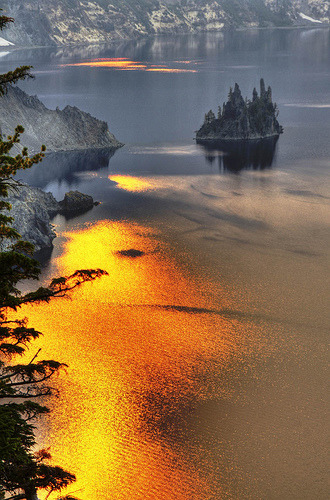 Phantom Ship Island - Crater Lake National Park, Oregon (by Creativity+ Timothy K Hamilton) ((too much photoshop))