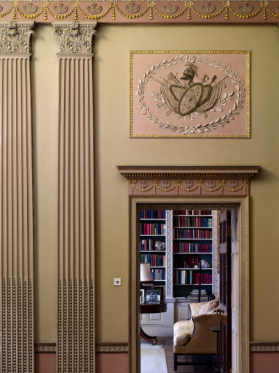 speciesbarocus:  View from the Hall into the Library at Basildon Park, Berkshire.