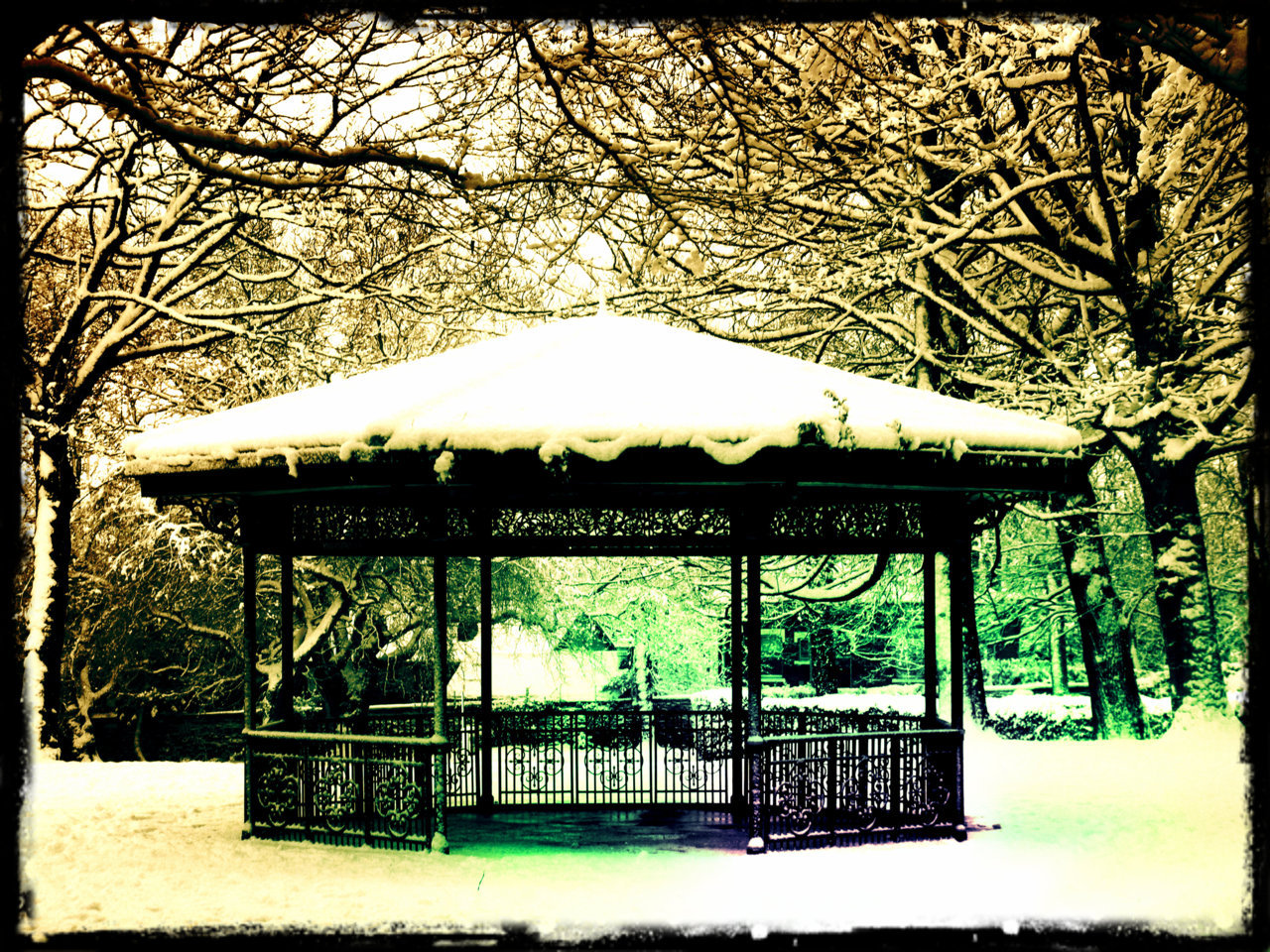While we are on tinkered photos, here's a pic I took of a wintry bandstand in Burley Park. It's a 2 minute walk from my house in Leeds, and I pass it all the time. This was taken last year after a good dumping of snow, and it hasn't looked as good since!