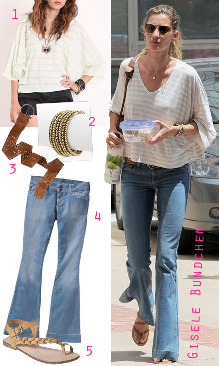 Gisele Bundchen ran errands in a loose-fitting striped top and flare leg  jeans. Simple flat sandals and a boho wrap bracelet finish her casual  yet cool look.
