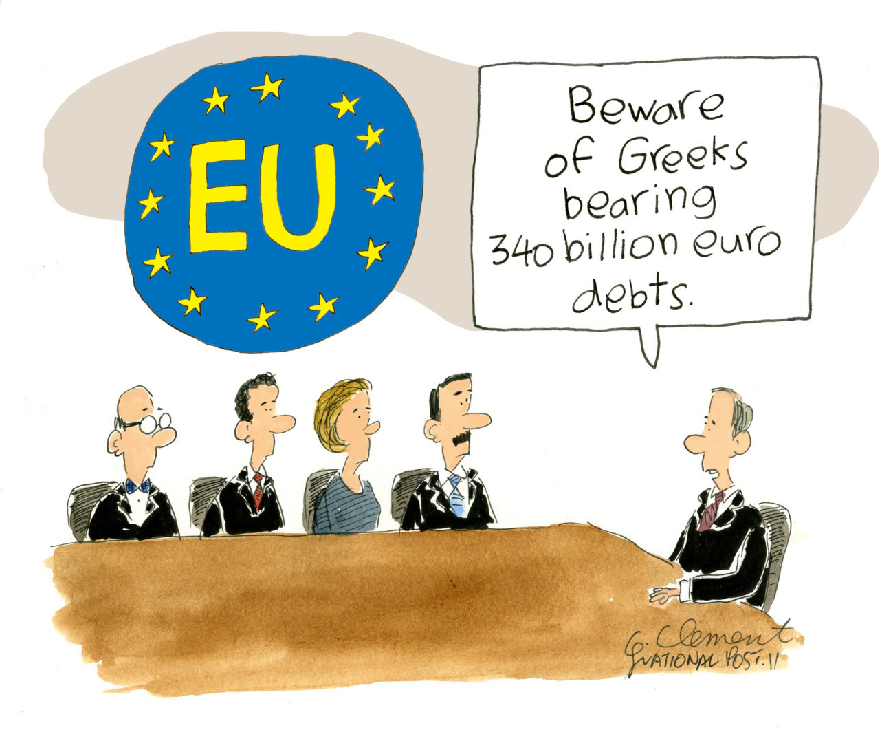 "On Tuesday the Greek government survived a confidence motion. National Post editorial cartoonist Gary Clement's take on the whole situation.Greece needs 'firewall,' Flaherty saysThe realization that Greece's failed finances may be beyond repair is prompting calls for a drastic course of action: Quarantine. Among those advocating for the establishment of a ""firewall"" around Greece is federal Finance Minister Jim Flaherty.""The danger is that the Greek situation unravels and that that would have a contagion effect on European banks,"" Mr. Flaherty told reporters on Wednesday, adding, ""we want to make sure the situation's contained."""