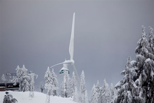 Frozen wind turbine.