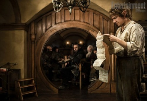 First Look: Martin Freeman as Bilbo Baggins in The Hobbit | EW via /Film Also, Ian McKellen as Gandalf and Peter Jackson giving direction on set.