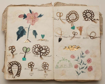 reclusivesouls:   Friendship album, Margaret Williams, 1839, Album with locks of hair sewn onto the pages in loops of stylized flowers with colored drawings of flowers  ♡