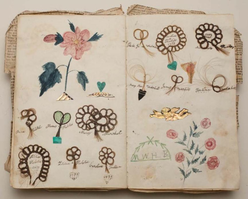 mewnette:   Friendship album, Margaret Williams, 1839, Album with locks of hair sewn onto the pages in loops of stylized flowers with colored drawings of flowers  this is so amazing  ♡