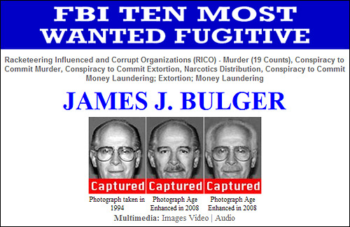 "Image description:  From the FBI: FBI Agents have arrested Top Ten Fugitive, James J. ""Whitey"" Bulger, and his companion, Catherine Greig, in California. Recent publicity produced a tip which led agents to Santa Monica, California, where they located both Bulger and Greig at a residence Wednesday evening. Bulger and Greig were arrested without incident. Both are currently scheduled for an initial appearance in U.S. District Court in the Central District of California (downtown Los Angeles) on Thursday."