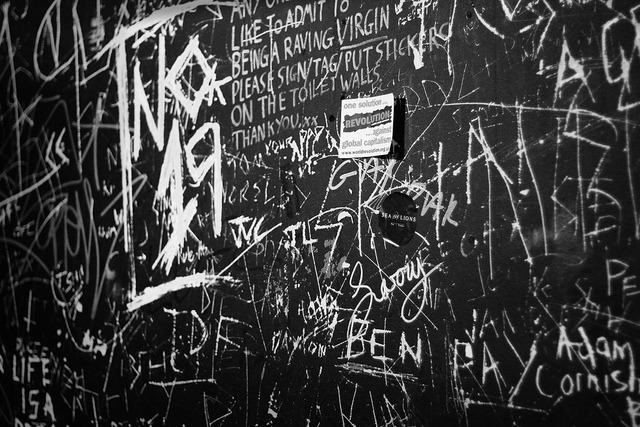 Gig venue toilet wall in Leeds.