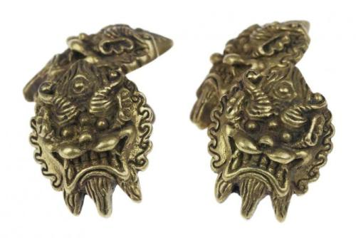 New kirin antiqued brass cuff links