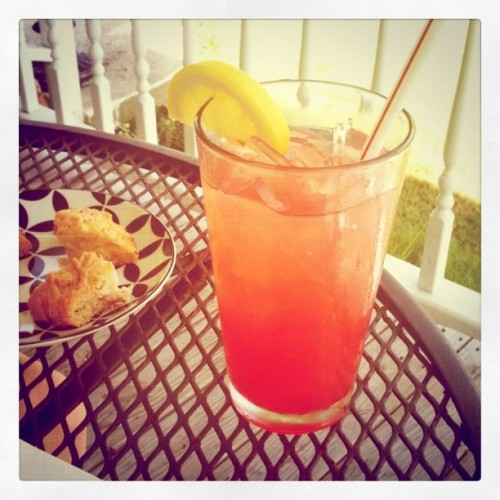 Raspberry lemonade & scones make for a perfect afternoon snack! (Taken with instagram)