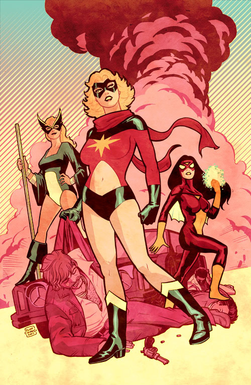 comicartappreciation:  Ms. Marvel, Mockingbird & Spider-Woman // Cliff Chiang cliffchiang:  70's Marvel Girls - originally B&W in SplashPage Artbook.