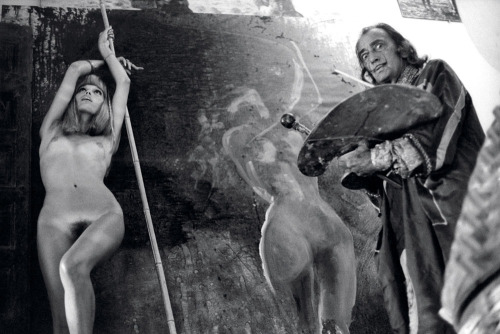 Salvador Dalí painting Amanda Lear, Spain, 1971. Photo by Yul Brynner (Russian-American, 1910-1985)