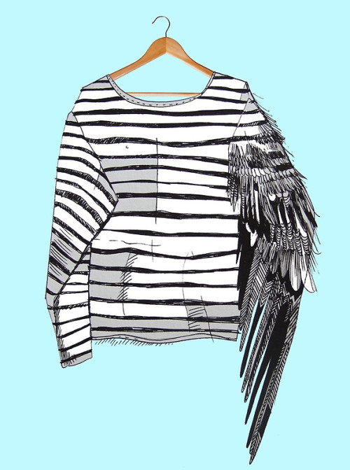 Liga Kitchen combines the ubiquitous stripey t-shirt and the ubiquitous bird in such a lovely fashion. Check out more of her stuff, and buy prints here.