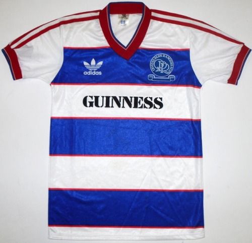 QPR + GUINNESS = SICK KITS Queens Park Rangers aka QPR aka the blue hoops are back in the Premiership this season.  After a 3-year kit sponsorship deal with Gulf Air, the two have parted ways this month.  We're hoping the London club reunites with Guinness and we're not alone, a campaign has started on Facebook. The above kit is their 85-86 kit. SICK.