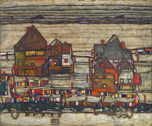 "Egon Schiele (Austrian, 1890–1918): ""Houses With Laundry (Suburb II),"" 1914. sold for $40.1 million at Sotheby's."