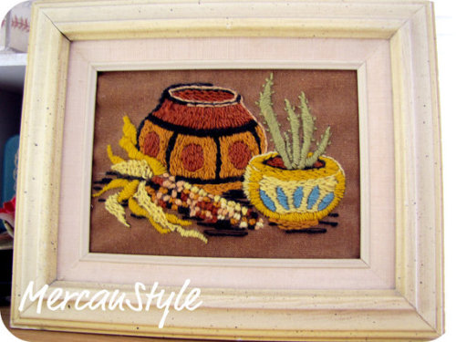 vintage southwestern needlepoint with cactus maize and terra cotta (click the pic to check the link)