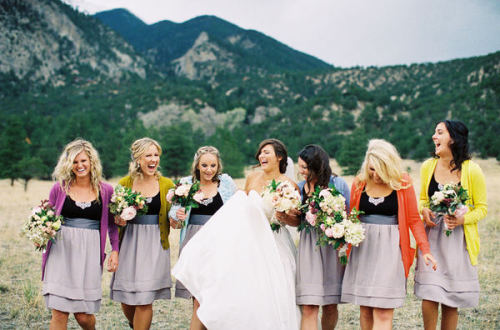 weddingwhimsy:  The colored cardigans are adorable!
