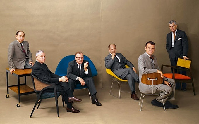 Mid-century modern design legends (left to right) George Nelson, Edward Wormley, Eero Saarinen, Harry Bertoia, Charles Eames and Jens Risom, posing with their iconic furniture for Playboy Magazine, july 1961.