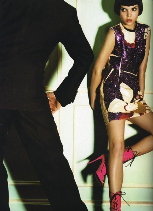 Patricia Schmid in Lanvin shot by Mario Testino for Vogue Paris