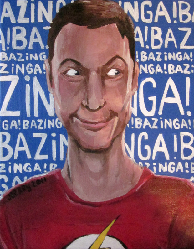 Doctor Sheldon Cooper from The Big Bang Theory. Bazinga! Acrylics.