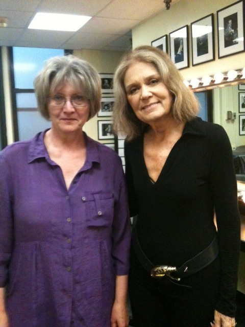 Eva Gabrielsson and Gloria Steinem in the green room just moments ago, before their talk tonight. Eva was on the Leonard Lopate show earlier this week. Listen to that show here.