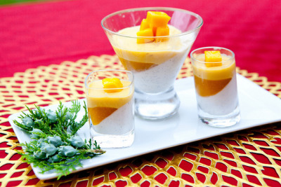 Vanilla yogurt panna cotta, mango gelee, passion fruit-mango mousse verrines  This was dessert for my Father's Day dinner at home. Yes, it's possible to make it without turning your oven on.  This and other recipes for my meals cooked for my dad on Father's Day, please head over to The Wandering Eater