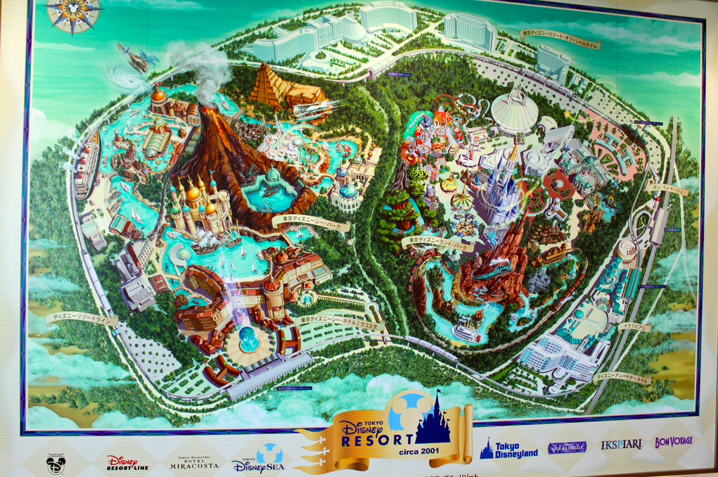 A map of the Tokyo Disney Resort. Cinderella Castle and Mount Prometheus, the icons of Tokyo Disneyland and Tokyo DisneySea respectively, are exactly the same size.