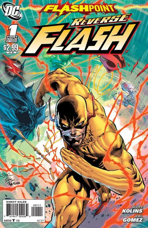 Flashpoint: Reverse-Flash #1 Score: 7.5/10 And so the continuing onslaught of FLASHPOINT tie-ins continues. This tie-in seems to be one of the more dire off shoots to the story line focusing on Reverse Flash, the man who caused this whole Flashpoint mess. I was hoping to find out more about why and how he was doing this with his tie-in this week. For starters, the whole issue is narrated by Reverse-Flash. It begins right at the beginning of his bout with Barry Allen. He then goes through how he planned on getting back at Barry, but begins to realize how delicate dealing with changing the course of time works. Thawne realizes that as much as he hates Barry, if Barry dies or if he doesn't become Flash Reverse-Flash never exists. So now, he must find a new way to get back at Barry. Trying different forms of getting to him, Thawne finally realizes how he can truly get back at Barry Allen. With the Reverse Flash standing at Barry Allen's mother's front door step, this tie-in ends.  This issue was a great way to recap on the relationship between Barry and Thawne, the Reverse-Flash. It's very well written and flows nicely. The only issue is, it's a FLASHPOINT tie-in but never touches on how he caused Flashpoint. I feel like the purpose of this one-shot was to cover that. Yes, the cover says its one of three, but DC online says its a one shot. I'm confused too, so we will have to wait and see what happens. The art was disappointing in this issue. It seemed choppy and unrefined. I was not a fan.  This was a good tie-in overall though. It's a great recap of the relationship between Barry and Reverse-Flash. For people who haven't read much of Reverse-Flash, it is definitely a pick-up to be considered. For those who have read a lot of Reverse-Flash, it is still a great one-shot and a good pick up.