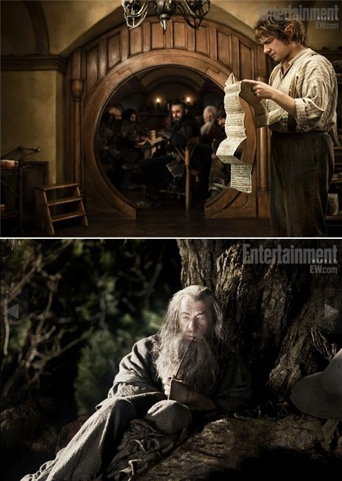agentmlovestacos:  FIRST IMAGES OF BILBO AND GANDALF FROM THE HOBBBBBIIIIIIITTTTTTTTTTT! via @EW & @thedailywhat  Above: First look at Martin Freeman as Bilbo and Ian McKellen as Gandalf in Peter Jackson's The Hobbit.