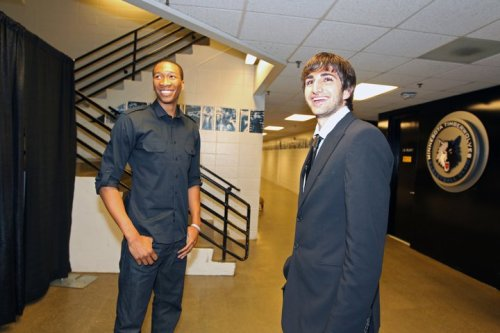 The Wolves new backcourt next season-Wesley Johnson and Ricky Rubio at the 2011 NBA Draft Party earlier this evening.