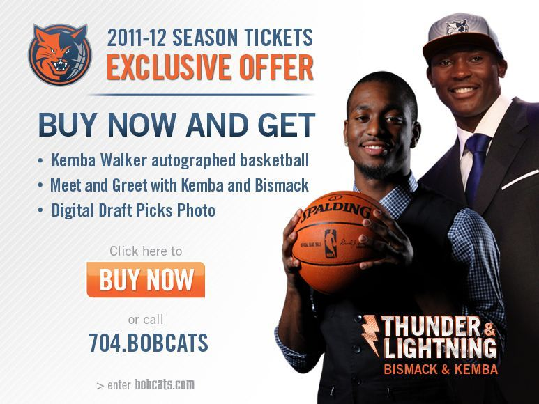wow, the Bobcats are already promoting their newly drafted players, Kemba and Bismack. They also have names for them already….. Thunder and Lighting. I guess that's what you have to look forward to when your a fan of a terrible NBA team.