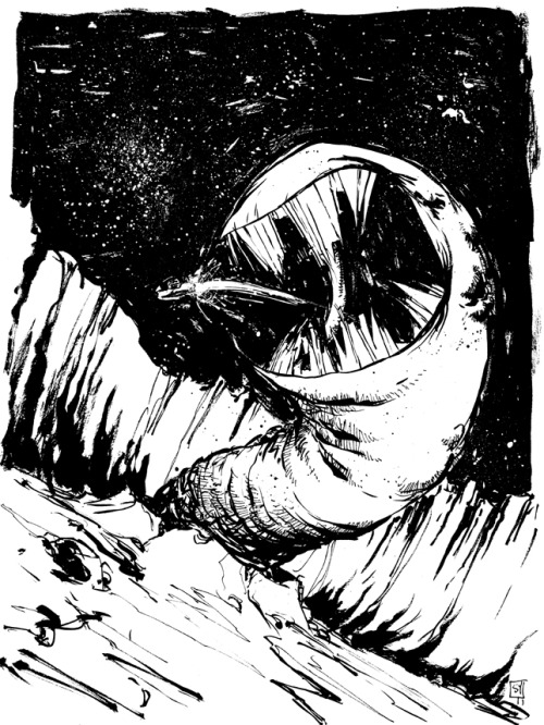 walkingontheskywithasaber:  Star Wars Asteroid Worm by skottieyoung