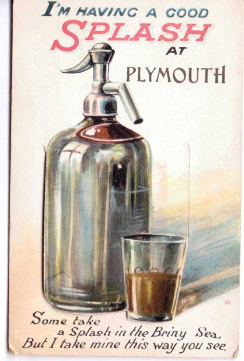 Novelty card- the bottle lifts to reveal a series of photos of Plymouth, England