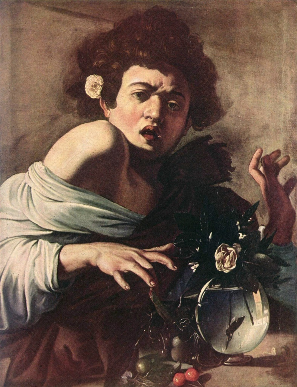 Boy bitten by Lizard (1593), oil on canvas | artwork by Caravaggio