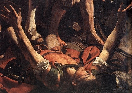 Detail of Conversion of St. Paul (1600-01), Cerasi Chapel | artwork by Caravaggio